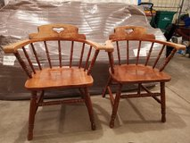 Two wood chairs in DeKalb, Illinois