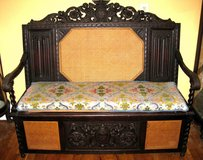 Ornately carved Antique Italian hall bench chest in West Orange, New Jersey