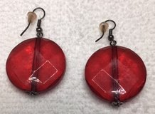 Earrings Red Vintage Clear Flat Round Faceted Acrylic in Kingwood, Texas