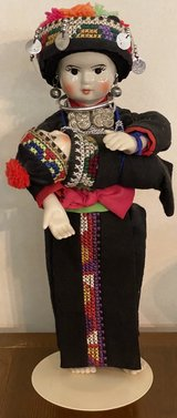 Thailand Hmong Porcelain Doll with Baby on stand in Okinawa, Japan