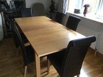 Dining extendable table and six leather chairs in Lakenheath, UK