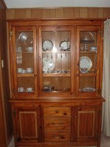 Country/Farmhouse Style Pine Wood China Display Cabinet w/Storage in Orland Park, Illinois
