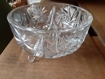 9in diameter mid century modern crystal and press cut glass footed bowls  $35 each in Chicago, Illinois