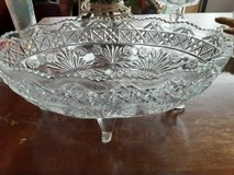 mid century modern press cut glass oblong footed fruit bowl in Chicago, Illinois