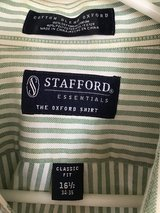 MEN'S STAFFORD GREEN AND WHITE PINSTRIPE BUTTON DOWN OXORD SHIRT, 16.5 neck, 34-35 sleeve in Alamogordo, New Mexico