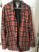 L.L.BEAN MEN'S RED OCHRE PLAID FLEECE LINED SHIRT JACKET XL TALL in Alamogordo, New Mexico