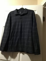 VAN HEUSEN MEN'S CHARCOAL WINDOWPANE PLAID LONG SLEEVE KNIT POLO SHIRT SIZE XL. in Alamogordo, New Mexico
