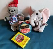 LOT 1997-1999 Collectible Coca Cola Bean Plush Seal, Elephant, Ornament, Cards in Ramstein, Germany