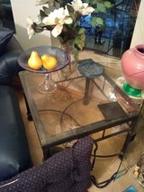 Glass and iron coffee and end table 2 piece in Beaufort, South Carolina