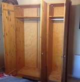 Ponderosa Pine 2 wardrobes, coat rack and bookcase- 4 separate pieces all together in Ramstein, Germany