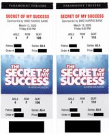 (2) tickets Secret of My Success at Aurora Paramount Theater Fri 3/13 in Aurora, Illinois
