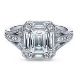 FINAL REDUCTION***Emerald Cut CZ In Art Deco Engagement Ring***SZ 7 in Kingwood, Texas