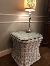 Beautiful Lane Venture White Wicker End Table in St. Charles, Illinois