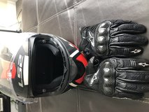 Helmet and gloves and armor riding vest in Camp Pendleton, California