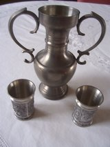 Pewter Pitcher & 2 Schnapps Tumblers in Stuttgart, GE