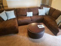 Chocolate suede like sectional couch w/pillow & ottoman in Byron, Georgia