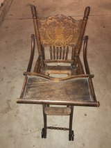 Antique Wooden High Chair/Stroller Combination in Naperville, Illinois