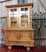 Thick Oak China Cabinet with Nice Carvings in Ramstein, Germany