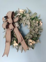 """18"""" Grapevine Wreath with Lamb's Ear and Cream Roses in Camp Lejeune, North Carolina"""