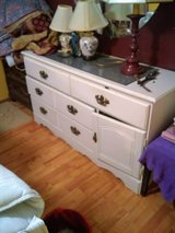 3 pcs dresser chest of drawers and round mirror in Beaufort, South Carolina
