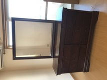 Cherry wood mirror and dresser junking on 25 mar in Okinawa, Japan