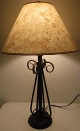 Table Lamp - Brown Metal Base - Ivory Shade w/Beige Leaves in Orland Park, Illinois