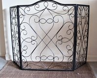 Ornate Three Panel Wrought Iron Fireplace Screen in Fort Sam Houston, Texas