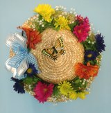 Spring Flat Top Straw Hat with Gerbera Daisies, Blue Bow and Butterfly in Camp Lejeune, North Carolina