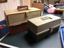 Vintage tackle boxes by Plano molding in Yorkville, Illinois