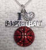 Basketball Bling Necklace Heart and Basketball Cystal Stones the words I and Basketball in silve... in Kingwood, Texas
