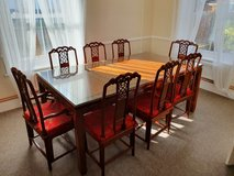 Rosewood glass top dining table w/ 8 chairs in Lakenheath, UK