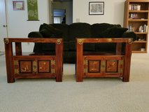 2 Korean End tables with storage space and brass detaiing in Fairfield, California
