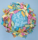 Summer Wreath with Flip Flop Sign and Lots of Colored Ribbon in Camp Lejeune, North Carolina