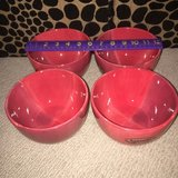Set/4 Quadrettini Hand-Painted Hand-Crafted Red Bowls in Westmont, Illinois