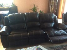 Leather Couch 3 Seater Brown in Ramstein, Germany