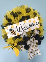 """22"""" Spring or Summer Wreath with Bumble Bee and Welcome Sign in Camp Lejeune, North Carolina"""