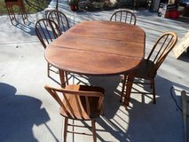 Antique Drop Leaf Kitchen Table and 5 Chairs in Yorkville, Illinois