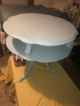 round antique light blue table in The Woodlands, Texas