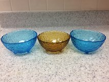 A Set of  Three Glass  Bowls in Okinawa, Japan