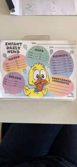 Daycare infant daily sheets in Joliet, Illinois