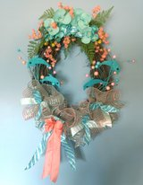 Oval Grapevine Spring or Summer Beach Wreath with Dolphins in Camp Lejeune, North Carolina