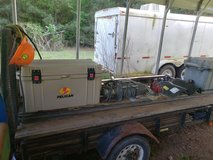 Trailer full of chain, hitches, winches in DeRidder, Louisiana