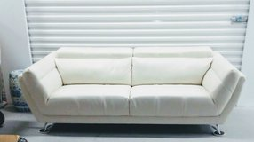 White Modern Leather Couch in Westmont, Illinois