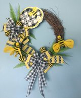 Spring or Summer Grapevine Wreath in Yellow and Black with Bumble Bees in Camp Lejeune, North Carolina