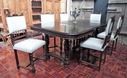 Late 1800s Diningroom Table with 6 Reapolstered Chairs in Ramstein, Germany