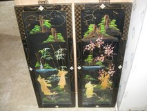 Mid Century Chinese Maidens in Landscape Hand Painted 3D Art Shadowbox 12x32 in Camp Lejeune, North Carolina