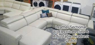 White Leather Sectional w/ Electric Recline and Adjustable Headrest in The Woodlands, Texas