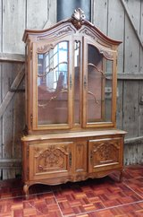 Solid Oak Chippendale China Cabinet with Lights in Ramstein, Germany