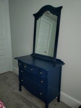Blue dresser and mirror in Kingwood, Texas