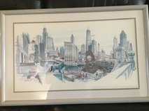 Framed painting of Chicago skyline in St. Charles, Illinois